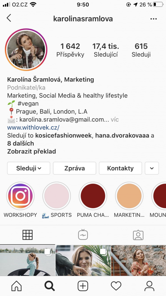 Instagram - Karolína Šramlová